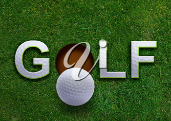 Golf word on green grass and golf ball on lip of hole