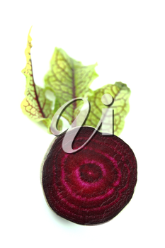 Beetroot with leaves on white background.