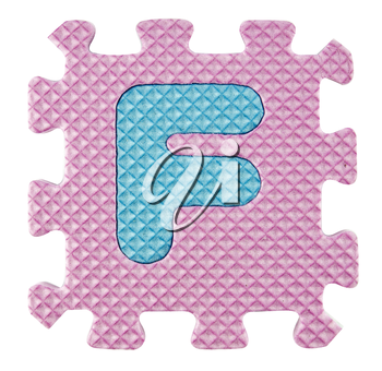 F letter, Alphabet puzzle isloated on white background , with clipping path.
