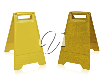 Yellow sign that alerts for wet floor.  (with clipping work path)