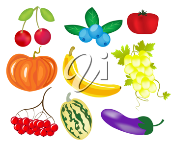Royalty Free Clipart Image of Fruit and Vegetables