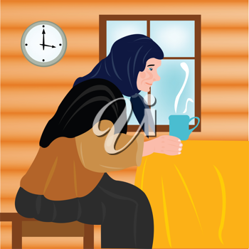 Royalty Free Clipart Image of an Older Woman Having a Hot Drink