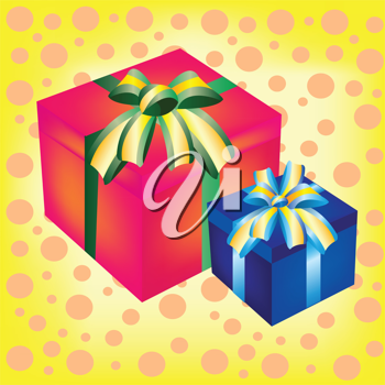 Royalty Free Clipart Image of Wrapped Gifts on a Spotted Background