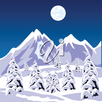 Illustration of the winter landscape amongst snow mountains