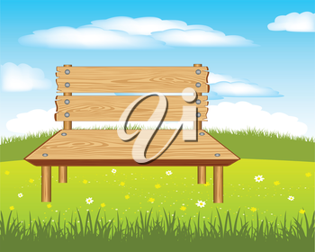 Bench on nature on year meadow.Wooden bench