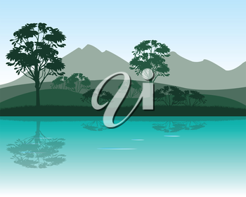 The Morning on calm river in mountain.Vector illustration
