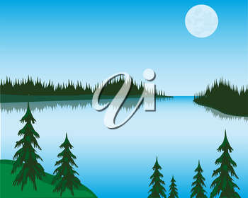 The Landscape beautiful lake in wood.Vector illustration