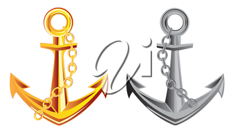 Anchor from gild and metal on white background is insulated