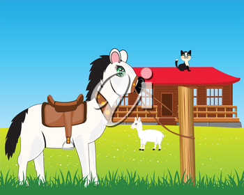 The Big house on nature and pets.Vector illustration