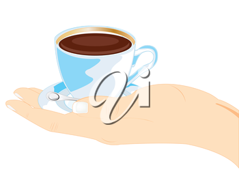 Stretching hand with cup coffee on white background