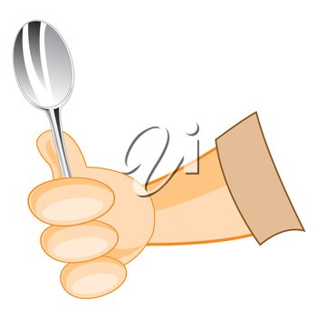 Vector illustration of the hand of the person with spoon