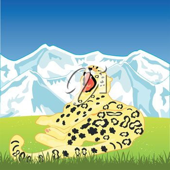 The Snow leopard on background of the wild nature.Vector illustration