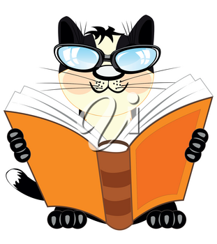 Cartoon of the cat bespectacled reading book