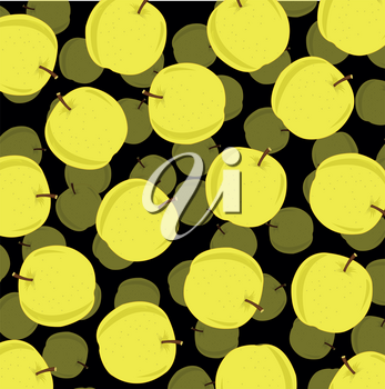Apple pattern from yellow apple on black background