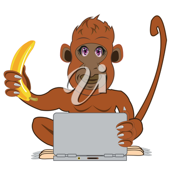 Cartoon of the gorilla with banana for notebook