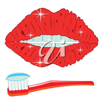 Mouth of the person with teeth and toothbrush with paste