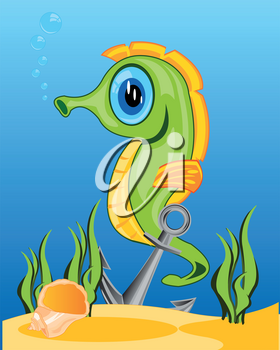 Cartoon seahorse in ocean amongst algaes on day