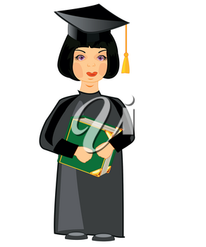 The Girl scientist with book in hand.Vector illustration