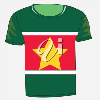Cloth t-shirt with flag of the country Suriname in south america