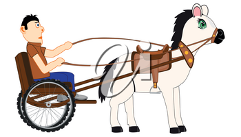 Vector illustration of the transport facility chaise with coachman and horse