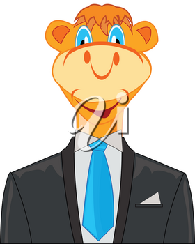 Camel in suit on white background is insulated