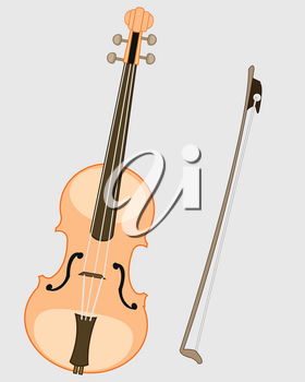 Music instrument violin and joining on white background is insulated
