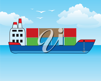 Vector illustration of the big nave in cargo in container in open sea