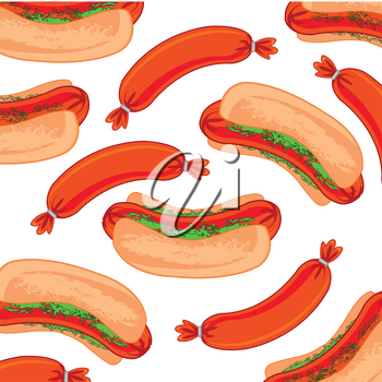 Vector illustration of the pattern from hot dog on white background