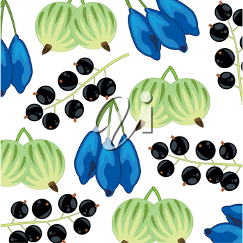Vector illustration ripe and edible berries decorative pattern