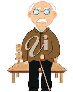 Elderly man sitting on wooden bench on white background is insulated