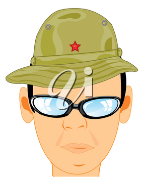 Portrait of the soviet soldier in hat for countries with warm climate