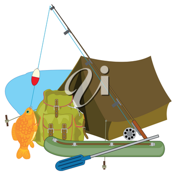 Fishing and equipment for it on white background is insulated