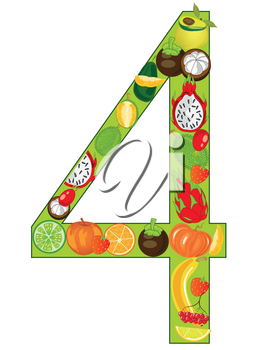 Vector illustration of the decorative numeral four from exotic fruit