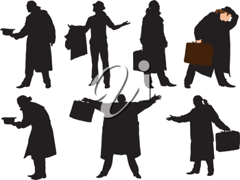 Royalty Free Clipart Image of a Collection of Silhouette Men in Cloaks With Briefcases and Hats