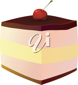 Royalty Free Clipart Image of a Piece of Cake With a Cherry on Top