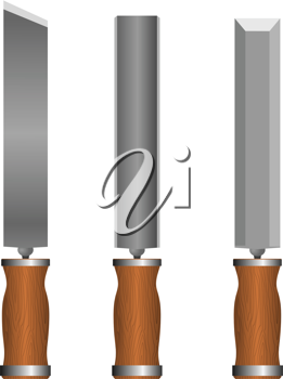 Royalty Free Clipart Image of a Set of Chisels