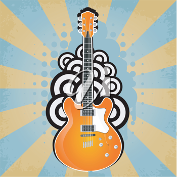 Royalty Free Clipart Image of an Abstract Background with a Guitar