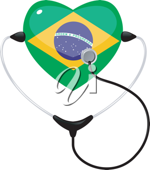 Royalty Free Clipart Image of a Heart Shaped Medical Icon Representing Brazil and a Stethescope