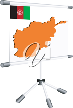 Royalty Free Clipart Image of a Slide Show Screen With a Silhouette of Afghanistan