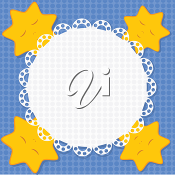 Royalty Free Clipart Image of a Blue Background With Yellow Star Icons and a White Lace Center