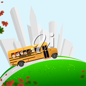 Royalty Free Clipart Image of a School Bus, Tall Buildings, and Maple Leaves