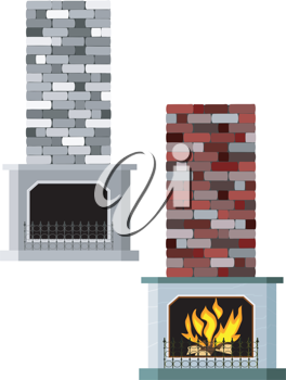 Royalty Free Clipart Image of a Two Fireplaces, One With a Fire