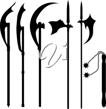 Set of silhouettes of halberds