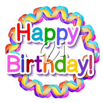 Isolated on white background frame of serpentine happy birthday. Vector illustration.