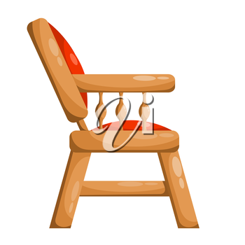 Red royal chair. Isolated on white background. Vector illustration.