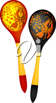 Two wooden spoons in the Russian national style. Vector illustration.