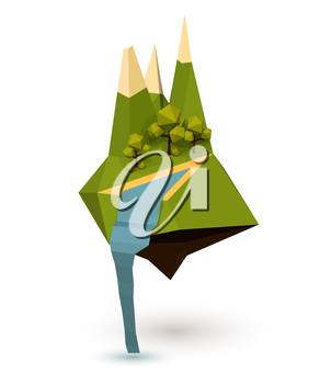 Abstract island with trees, mountain and a waterfall in the low poly style. Vector illustration