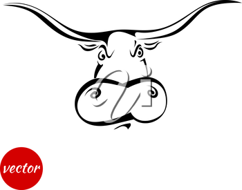 Angry bull's head isolated on white background. Vector illustration.
