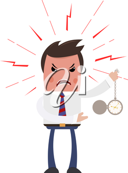 Angry boss on a white background. Sleek style. Unhappy with the head of a clock in his 