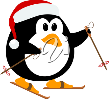 Vector illustration of cute little penguin wearing a hat of Santa Claus on skis. Winter sport.  Baby penguin on skis.